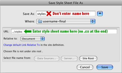 Figure 1. Dreamweaver CS3 Style Sheet Bug