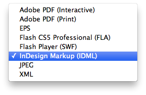 Export to InDesign Markup (IDML)